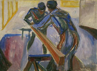 Edvard Munch Carpenters in the Studio