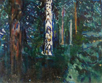 Edvard Munch Forest with Birch Trunks