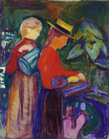 Edvard Munch Girls Watering Flowers (the Linde Frieze)
