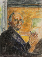 Edvard Munch Self-Portrait with Pastel Stick