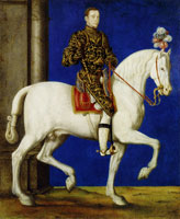 Attributed to François Clouet - Equestrian Portrait of Henri II as Dauphin
