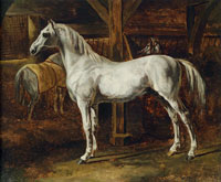 Théodore Géricault White Horse Standing in a Stable