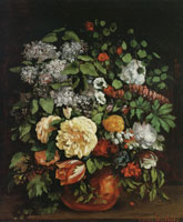 Gustave Courbet Vase of Liacs, Roses, and Tulips