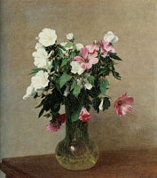 Henri Fantin-Latour - White and Pink Mallows in a Vase