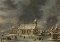 Jan Abrahamsz. Beerstraten View of the Sloten Church in Winter