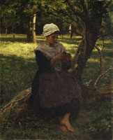 Jules Breton A Peasant Girl Knitting