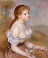 Pierre-Auguste Renoir A Young Girl with Daisies