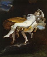 Pierre-Paul Prud'hon with Constance Mayer? or follower - The Abduction of Psyche by Zephyrus to the Palace of Eros