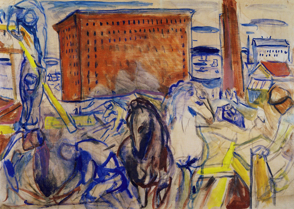 Edvard Munch - Horse Team on a Building Site
