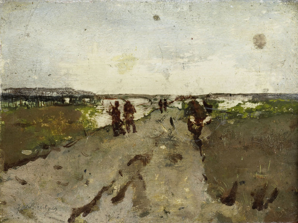 George Hendrik Breitner - Landscape near Waalsdorp, with Soldiers on Maneuver