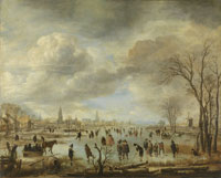 Aert van der Neer Wide Winter Scene near a Town