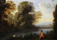 Claude Lorrain Landscape with River and Shepherd