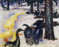 Edvard Munch - Ducks and Turkeys in Snow