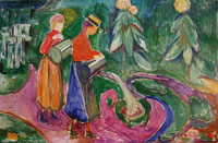 Edvard Munch Girls Watering Flowers (The Freia Frieze IV)