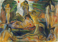 Edvard Munch Naked Figures and Sun