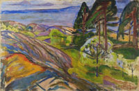 Edvard Munch Pine Trees and Fruit Trees in Blossom
