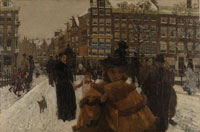 George Hendrik Breitner The Singel Bridge at the Paleisstraat in Amsterdam