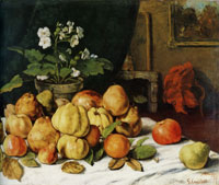 Gustave Courbet Apples, Pears, and Primroses on a Table