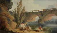 Hubert Robert Bridge over a Cascade