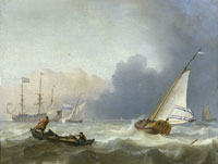 Ludolf Backhuysen Rough Sea with a Dutch Yacht under Sail