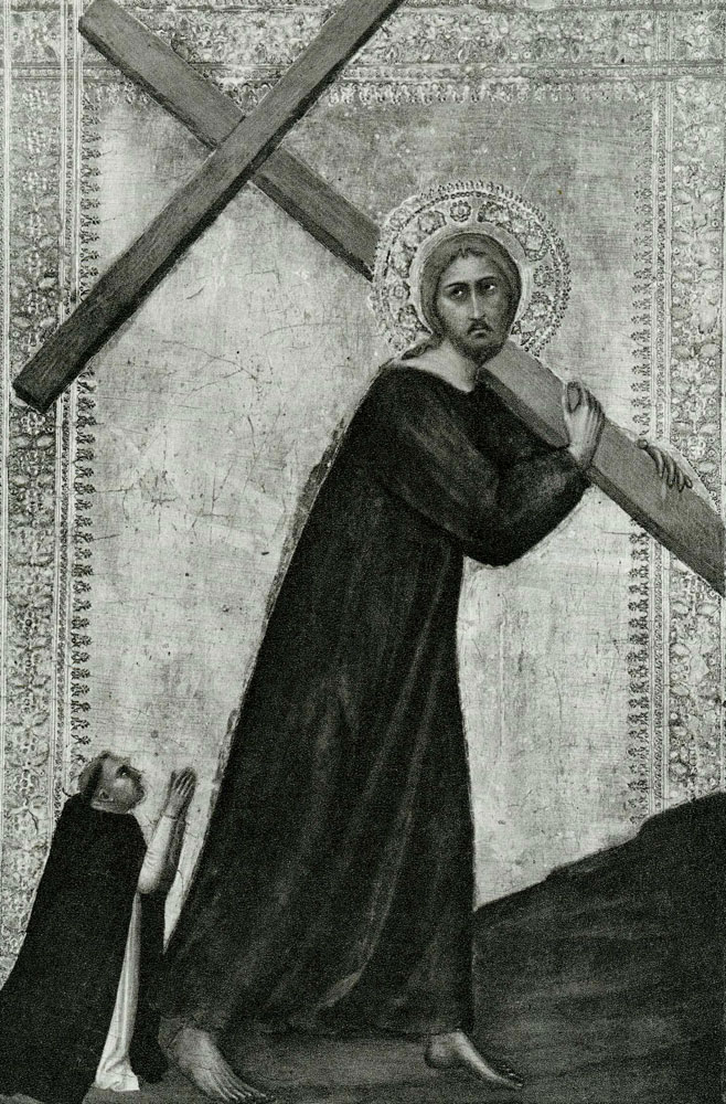 Barna da Siena - Christ Bearing the Cross, with a Dominican Friar