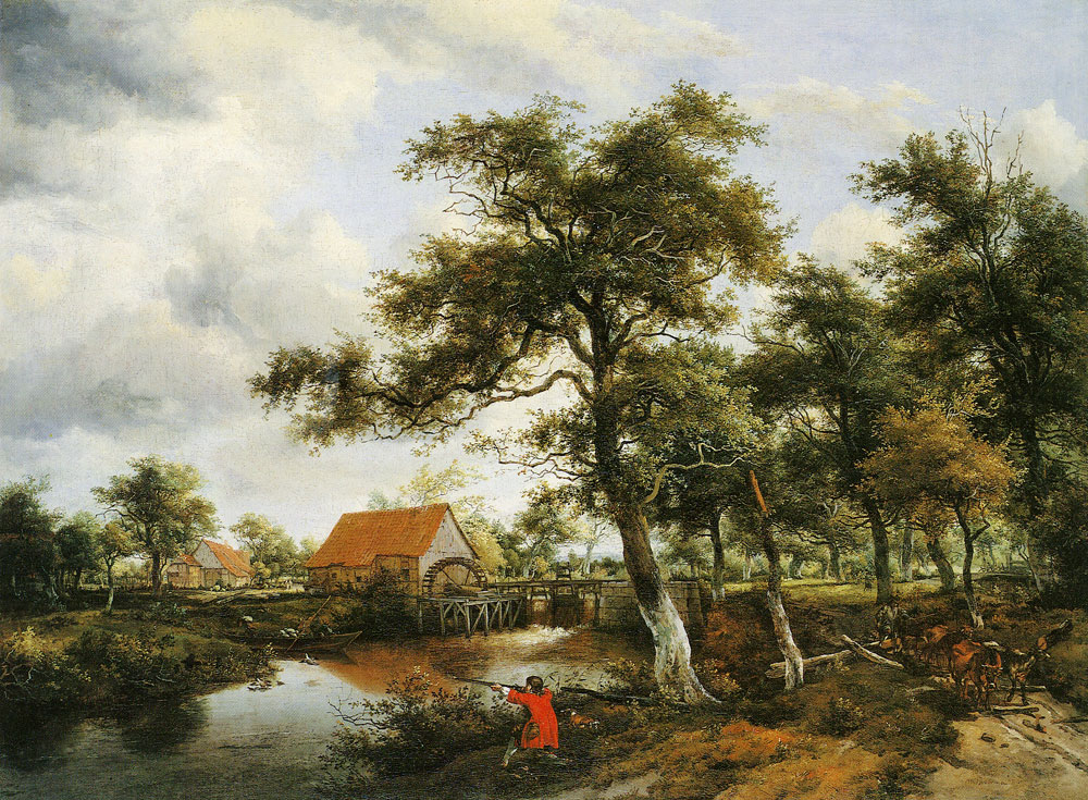 Meindert Hobbema - Wooded Landscape with Watermill