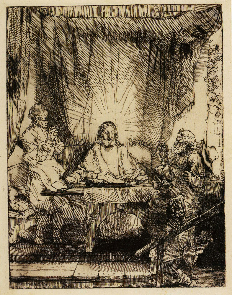 Rembrandt - Christ at Emmaus the large plate