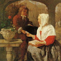 Gabriel Metsu Girl receiving a letter