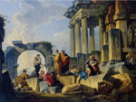Giovanni Paolo Panini Ruins with Scene of the Apostle Paul Preaching
