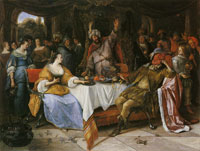 Jan Steen Esther, Ahasuerus, and Haman