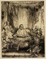 Rembrandt Christ at Emmaus the large plate