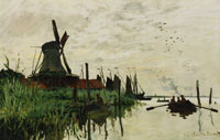 Claude Monet Windmill and Boats near Zaandam, Holland