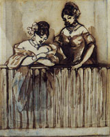 Constantin Guys Two Spanish Women on a Balcony