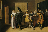Dirck Hals Cavaliers Playing Tric-Trac in a Tavern