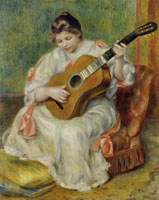 Pierre-Auguste Renoir Woman paying a Guitar