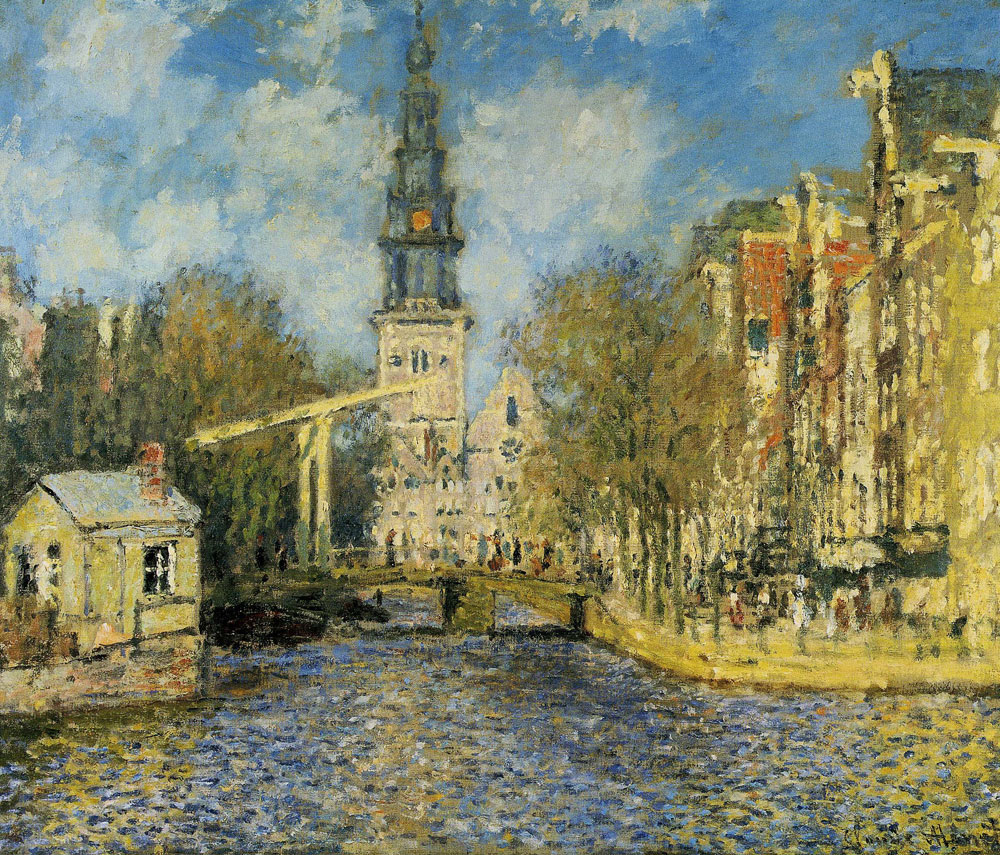 Claude Monet - The Zuiderkerk, Amsterdam (Looking up the Groenburgwal)