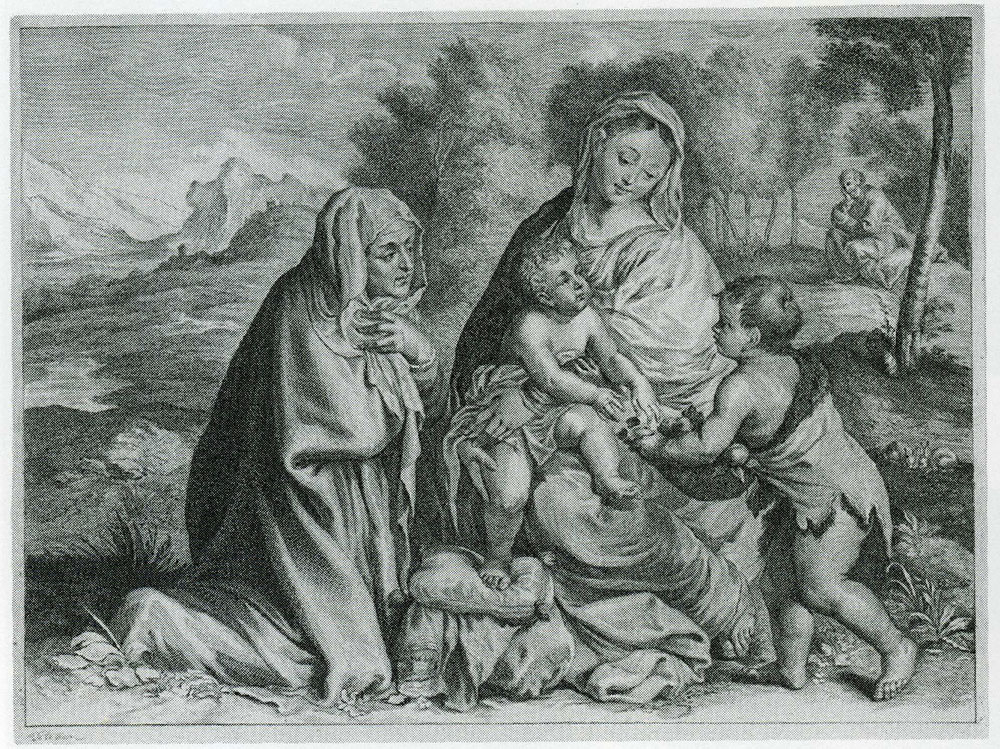 Cornelis Visscher after Titian - The Holy Family with St. John and St. Elizabeth