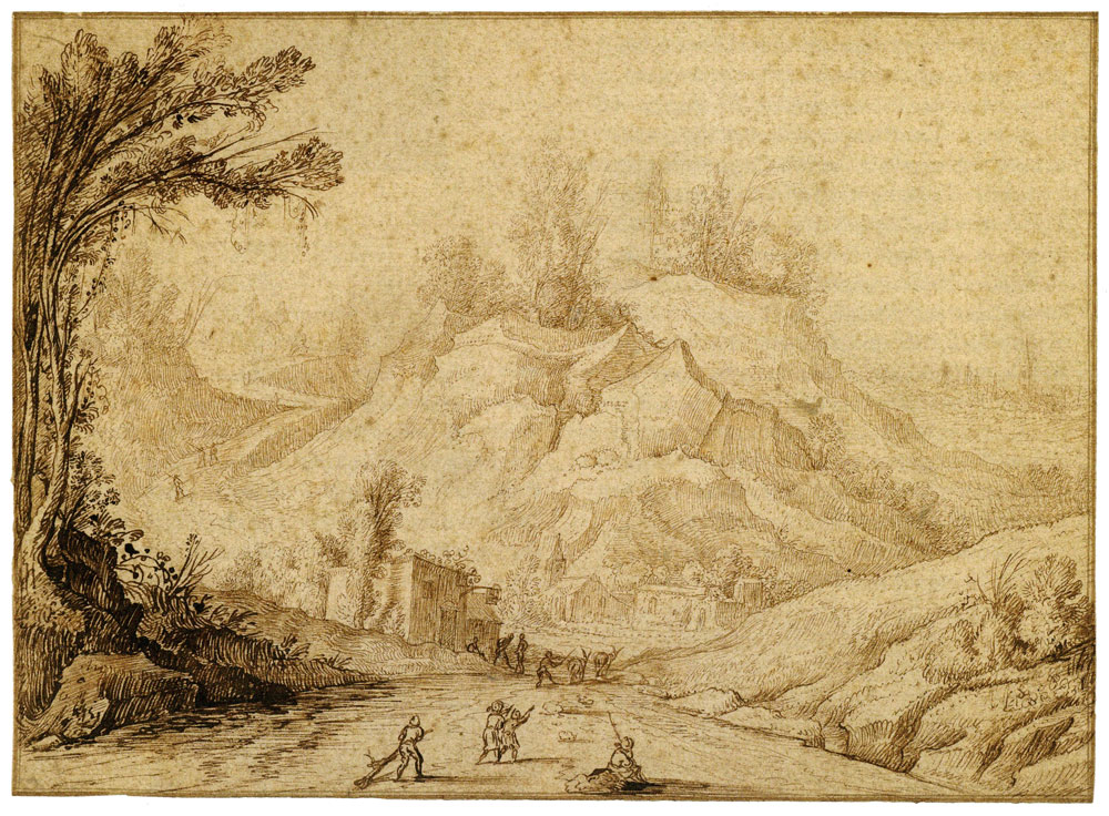 Hendrik Cornelisz. Vroom - Mountain Landscape with Figures on a Road near an Inn