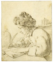 Constantijn Verhout Boy in a Fur Cap, Writing in a Book