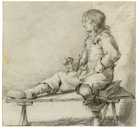 Constantijn Verhout Young Man on a Bench, Sitting on a Book