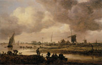 Jan van Goyen A River Landscape with Fisherman Mooring a Rowing Boat