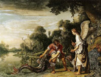 Pieter Lastman Tobias Catching the Fish