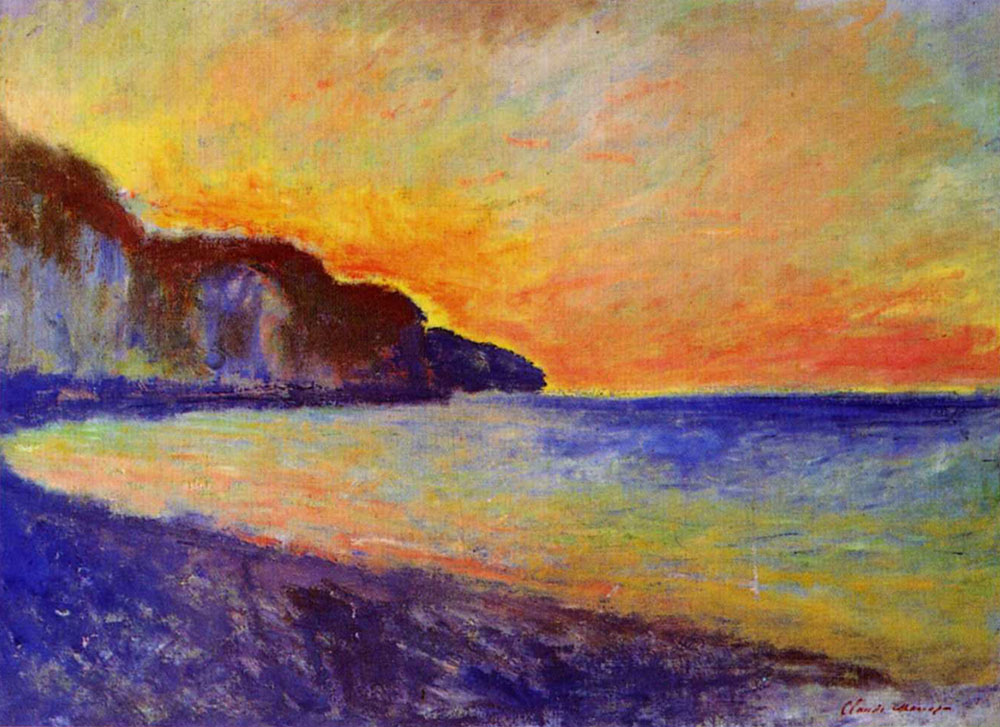 Claude Monet - The Cliff at Pourville, Sunset