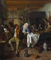 Jan Steen Interior of a Tavern with Card Players and a Violin Player