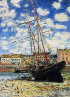 Claude Monet Boat Lying at Low Tide