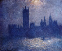 Claude Monet Houses of Parliament, Effect of Sun in the Fog