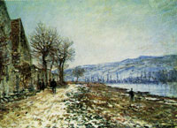 Claude Monet Riverbanks at Lavacourt, Snow