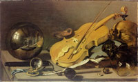 Pieter Claesz. Vanitas Still Life with Violin and Glass Ball