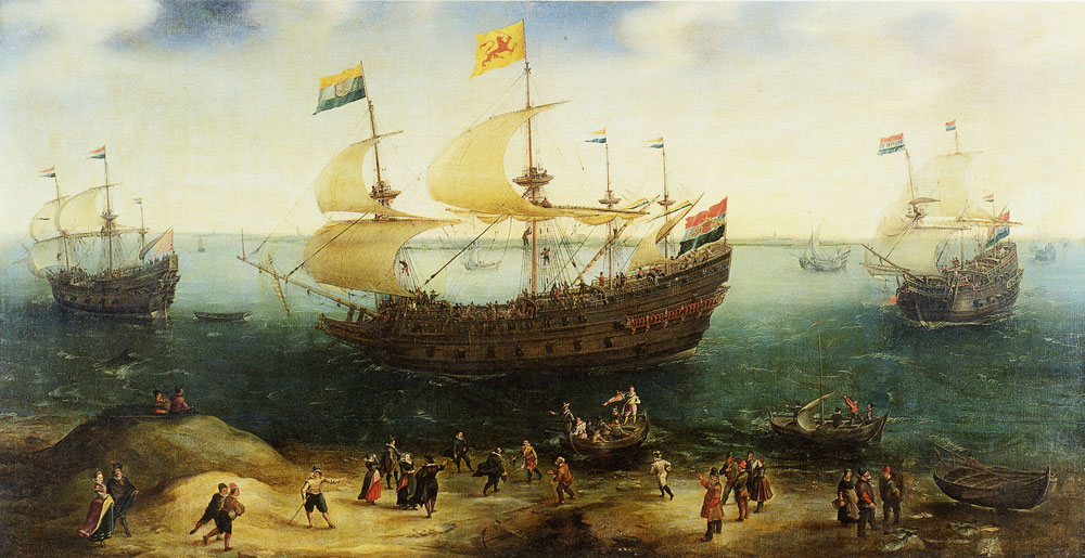 Hendrick Cornelisz. Vroom - The Amsterdam Four-Master 'De Hollandse Tuyn' and Other Ships on Their Return from Brazil