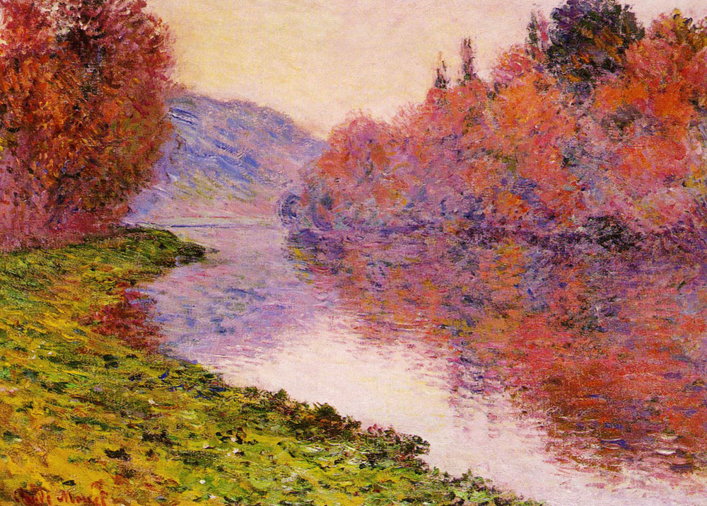 Claude Monet - Banks of the Seine at Jeufosse, Bright Weather